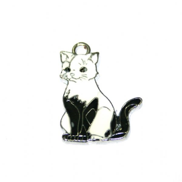 1 x 24*20mm rhodium plated black/white cat enamel charm with rhinestone - S.D03 - CHE1202
